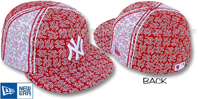 Yankees NY-'PJs FLOCKING PINWHEEL' Red-White Fitted Hat by New Era : pictured without stickers that these products are shipped with