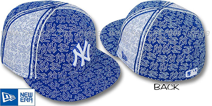 Yankees NY-'PJs FLOCKING PINWHEEL' Royal-White Fitted Hat by New Era : pictured without stickers that these products are shipped with