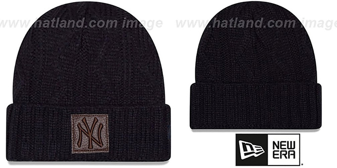 Yankees 'OHANA' Navy Knit Beanie Hat by New Era : pictured without stickers that these products are shipped with