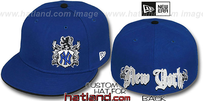 b7f001c4011 Yankees  OLD ENGLISH SOUTHPAW  Royal-Black Fitted Hat by New Era