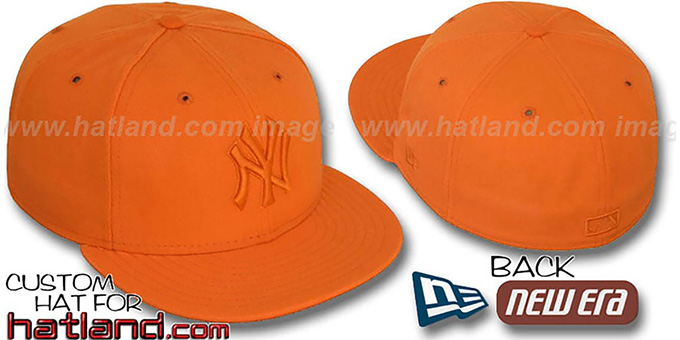 Yankees 'ORANGEOUT' Fitted Hat by New Era : pictured without stickers that these products are shipped with