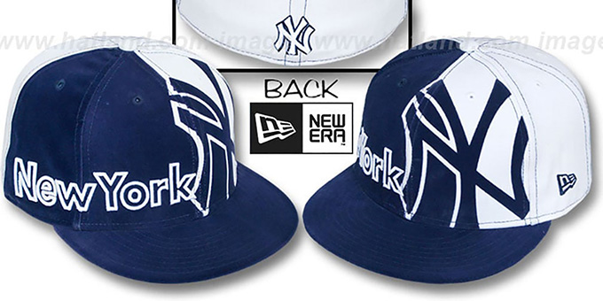 Yankees 'PEEPDIS VELVETEEN' Navy-White Fitted Hat by New Era : pictured without stickers that these products are shipped with
