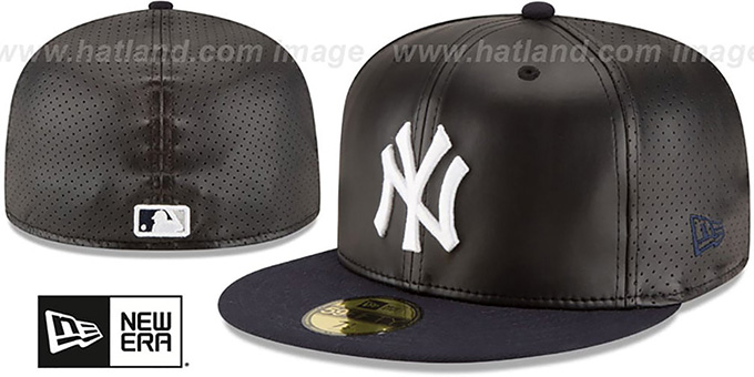 Yankees 'PERFECTLY STATED'  Black-Navy Fitted Hat by New Era : pictured without stickers that these products are shipped with