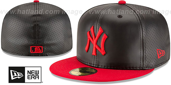 Yankees 'PERFECTLY STATED'  Black-Red Fitted Hat by New Era : pictured without stickers that these products are shipped with