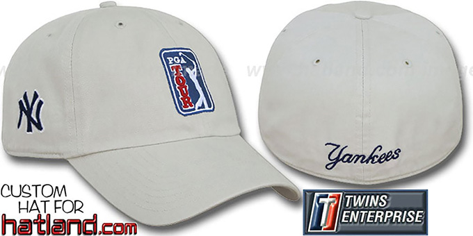 Yankees 'PGA FRANCHISE' Hat by Twins - stone : pictured without stickers that these products are shipped with