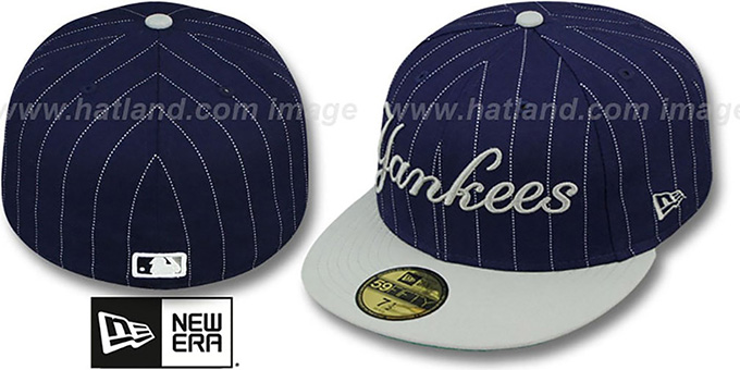 Yankees 'PIN-SCRIPT' Navy-Grey Fitted Hat by New Era : pictured without stickers that these products are shipped with