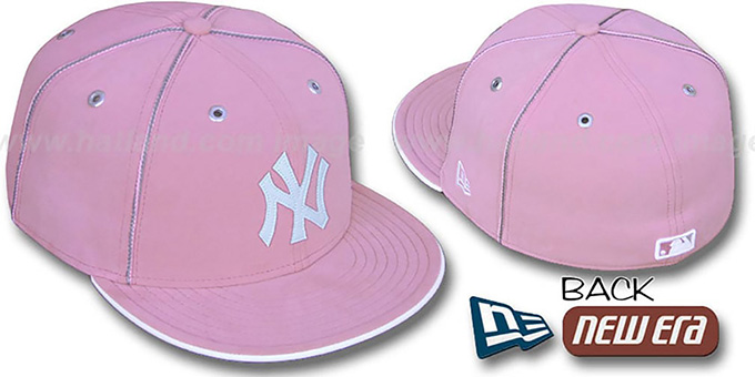 Yankees 'PINK DaBu' Fitted Hat by New Era : pictured without stickers that these products are shipped with