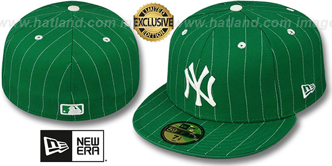Yankees 'PINSTRIPE' Green-White Fitted Hat by New Era : pictured without stickers that these products are shipped with
