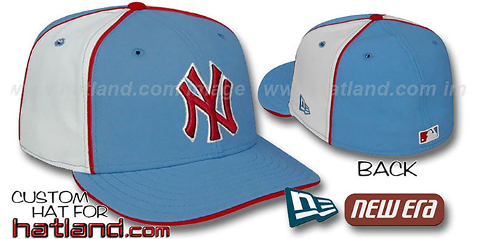 Yankees 'PINWHEEL-2' Columbia-White Fitted Hat : pictured without stickers that these products are shipped with