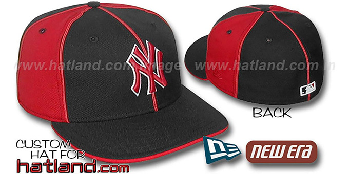 Yankees 'PINWHEEL-3' Black-Red Fitted Hat by New Era : pictured without stickers that these products are shipped with