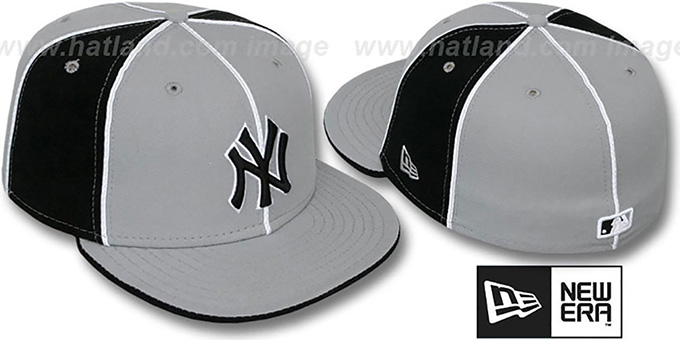 Yankees 'PINWHEEL-3' Grey-Black Fitted Hat by New Era : pictured without stickers that these products are shipped with