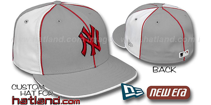 Yankees 'PINWHEEL-3' Grey-White Fitted Hat by New Era : pictured without stickers that these products are shipped with