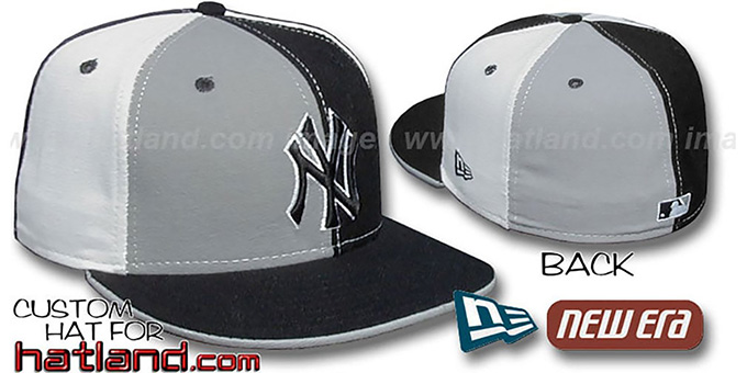 Yankees 'PINWHEEL' Grey-Black-White Fitted Hat by New Era : pictured without stickers that these products are shipped with