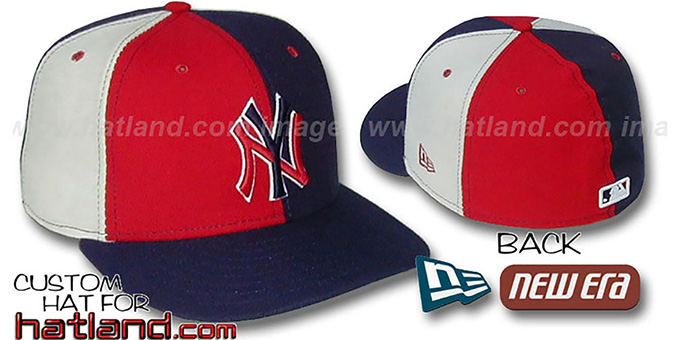 Yankees 'PINWHEEL' Red-Navy-Stone Fitted Hat by New Era : pictured without stickers that these products are shipped with