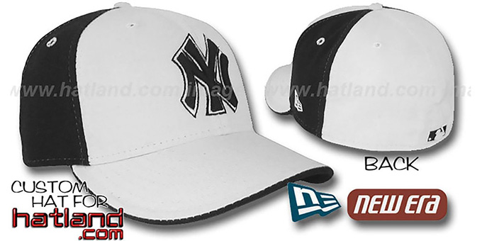 Yankees 'PINWHEEL' White-Black Fitted Hat by New Era : pictured without stickers that these products are shipped with