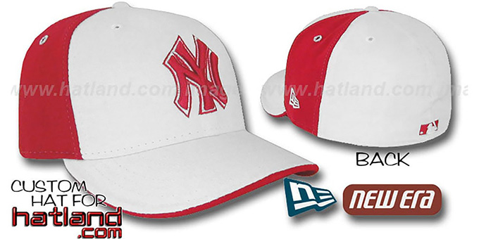 Yankees 'PINWHEEL' White-Red Fitted Hat by New Era : pictured without stickers that these products are shipped with
