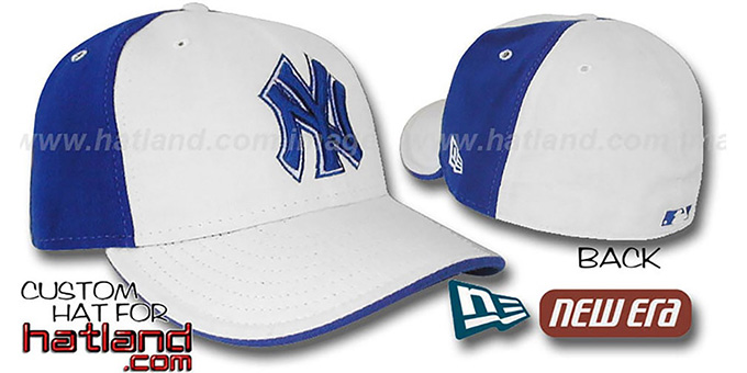 Yankees 'PINWHEEL' White-Royal Fitted Hat by New Era : pictured without stickers that these products are shipped with