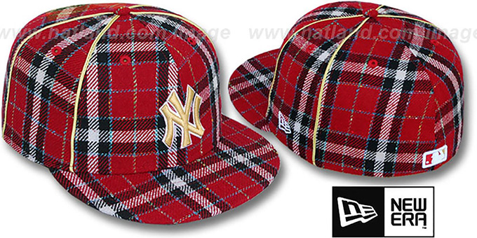 Yankees 'PLAID-TWEED' Red Fitted Hat by New Era : pictured without stickers that these products are shipped with