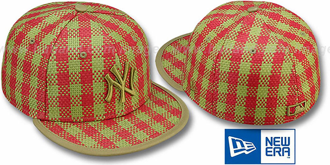 Yankees PLAID 'WEAVE' Red-Olive Fitted Hat by New Era : pictured without stickers that these products are shipped with