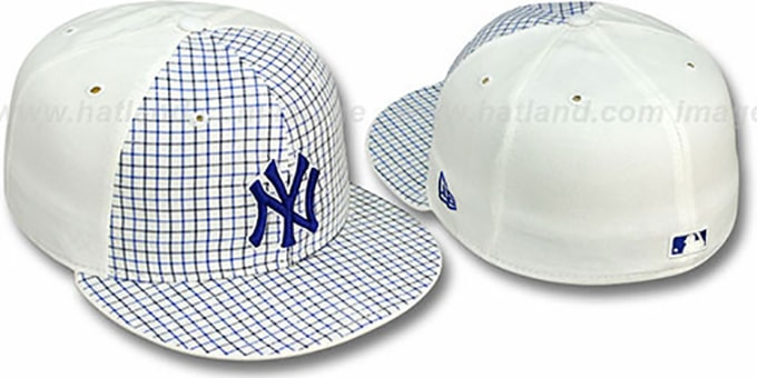 Yankees 'PLAIDSTER' Plaid-White Fitted Hat by New Era : pictured without stickers that these products are shipped with