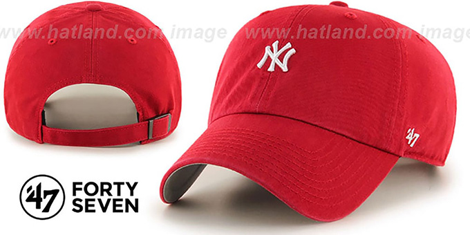 Yankees 'POLO STRAPBACK' Red Hat by Twins 47 Brand : pictured without stickers that these products are shipped with