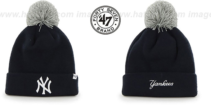 Yankees 'POMPOM CUFF' Navy Knit Beanie Hat by Twins 47 Brand : pictured without stickers that these products are shipped with