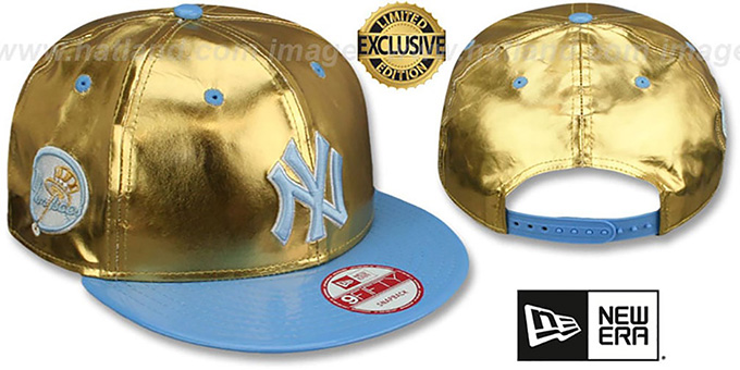 Yankees 'POSH SNAPBACK' Gold-Sky Hat by New Era : pictured without stickers that these products are shipped with