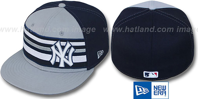Yankees 'PREMIUM' Grey-Navy Fitted Hat by New Era : pictured without stickers that these products are shipped with
