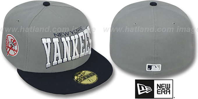 Yankees 'PRO-ARCH' Grey-Navy Fitted Hat by New Era : pictured without stickers that these products are shipped with
