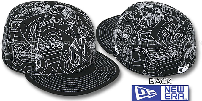 Yankees 'PUFFY REMIX' Black-White Fitted Hat by New Era : pictured without stickers that these products are shipped with