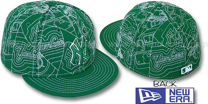 Yankees 'PUFFY REMIX' Kelly-White Fitted Hat by New Era : pictured without stickers that these products are shipped with
