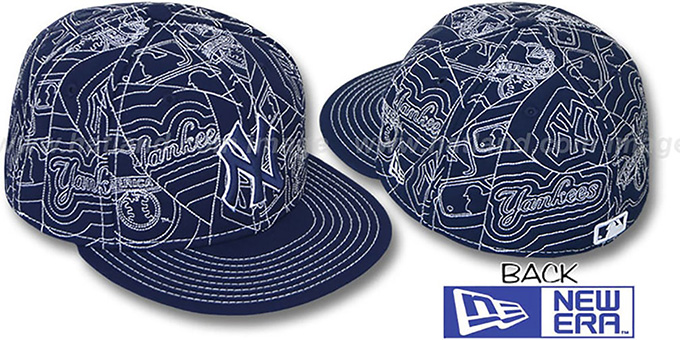Yankees 'PUFFY REMIX' Navy-White Fitted Hat by New Era : pictured without stickers that these products are shipped with
