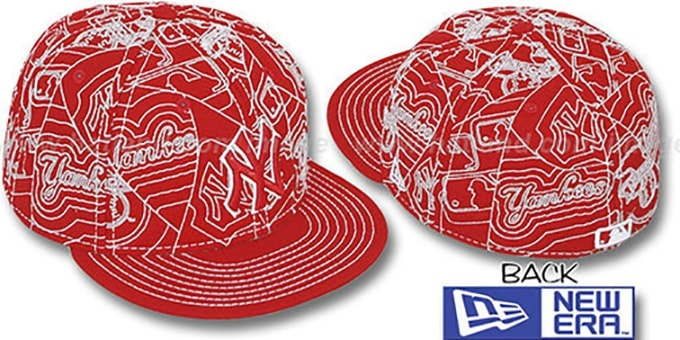 Yankees 'PUFFY REMIX' Red-White Fitted Hat by New Era : pictured without stickers that these products are shipped with