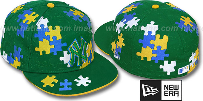 Yankees 'PUZZLE' Green Fitted Hat by New Era : pictured without stickers that these products are shipped with