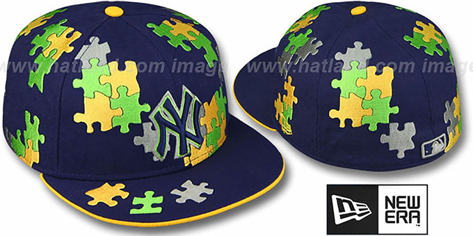 Yankees 'PUZZLE' Navy-Gold Fitted Hat by New Era : pictured without stickers that these products are shipped with