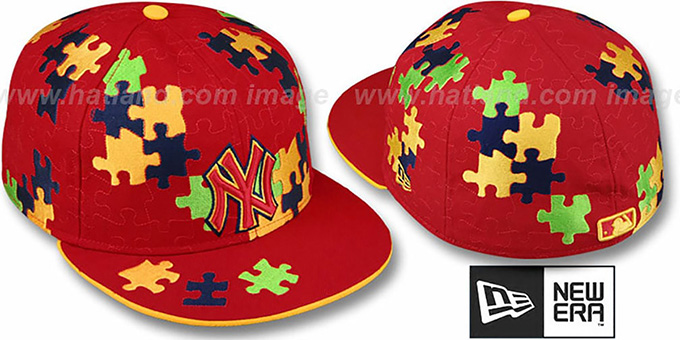 Yankees 'PUZZLE' Red Fitted Hat by New Era : pictured without stickers that these products are shipped with