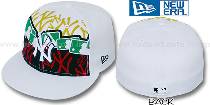 Yankees 'RASTA LAYERED' White Fitted Hat by New Era : pictured without stickers that these products are shipped with