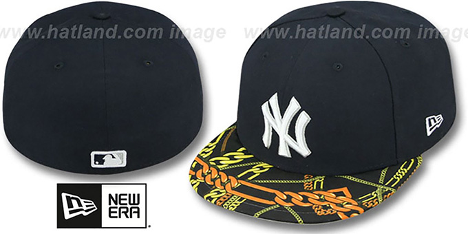 Yankees 'REAL CHAINS VIZA-PRINT' Navy Fitted Hat by New Era : pictured without stickers that these products are shipped with