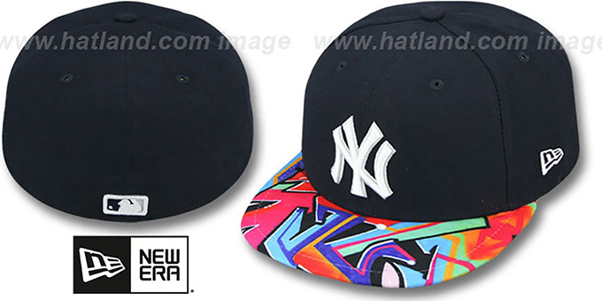 Yankees 'REAL GRAFFITI VIZA-PRINT' Navy Fitted Hat by New Era : pictured without stickers that these products are shipped with