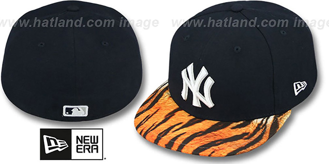 Yankees 'REAL TIGER VIZA-PRINT' Navy Fitted Hat by New Era : pictured without stickers that these products are shipped with