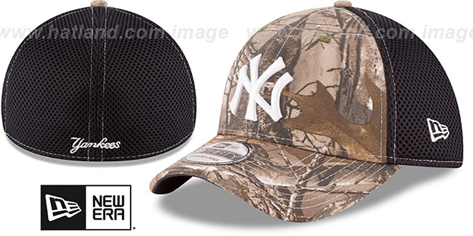 Yankees 'REALTREE NEO MESH-BACK' Flex Hat by New Era : pictured without stickers that these products are shipped with