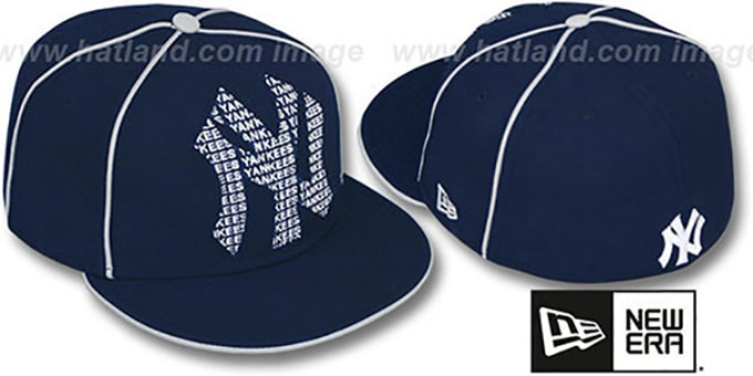 Yankees 'REPEAT BIG-ONE' Navy Fitted Hat by New Era : pictured without stickers that these products are shipped with