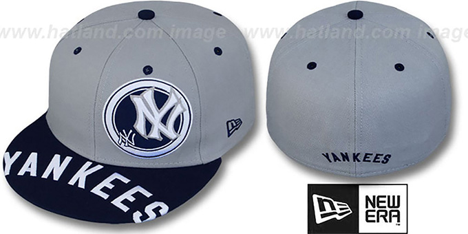 Yankees 'ROTUND' Grey-Navy Fitted Hat by New Era : pictured without stickers that these products are shipped with