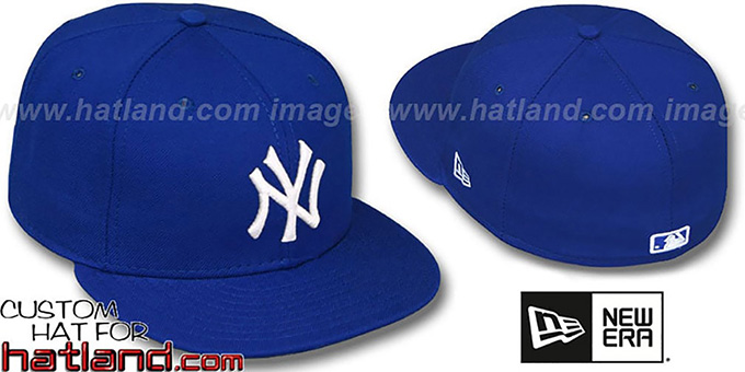 Yankees 'ROYAL-WHITE' Fitted Hat by New Era : pictured without stickers that these products are shipped with