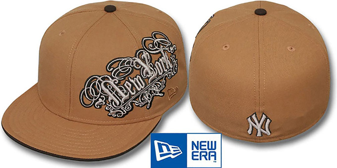 Yankees 'ROYALE OLD ENGLISH' Wheat-Brown Fitted Hat by New Era : pictured without stickers that these products are shipped with