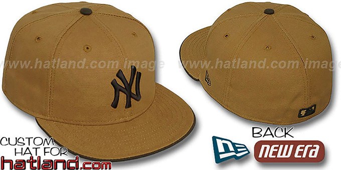 Yankees 'RUGGED CANVAS' Fitted Hat by New Era - camel : pictured without stickers that these products are shipped with