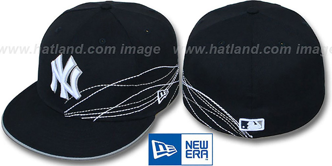 Yankees 'RUNNING JETSTREAM' Navy Fitted Hat by New Era : pictured without stickers that these products are shipped with