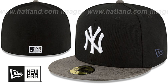 Yankees 'RUSTIC-VIZE' Black-Grey Fitted Hat by New Era : pictured without stickers that these products are shipped with