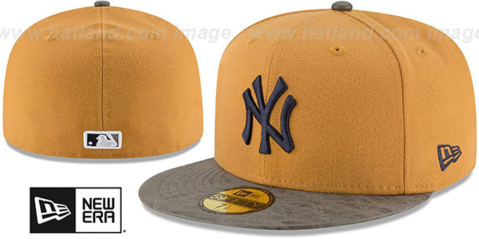 Yankees 'RUSTIC-VIZE' Wheat-Grey Fitted Hat by New Era : pictured without stickers that these products are shipped with