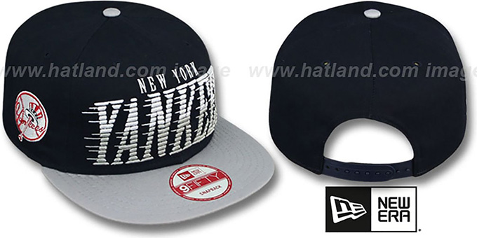 Yankees 'SAILTIP SNAPBACK' Navy-Grey Hat by New Era : pictured without stickers that these products are shipped with